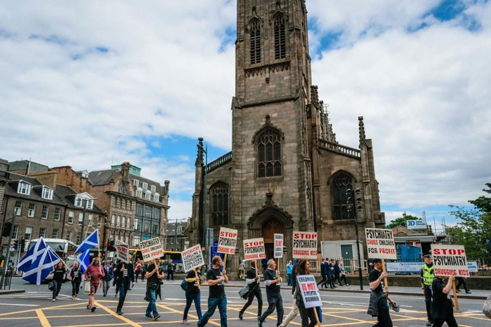 The group marched from Scott Monument to Edinburgh International Conference Centre where the convention was taking place.
