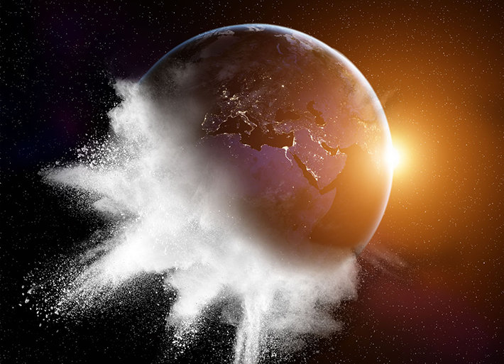 Planet Earth turning into cocaine powder explosion.