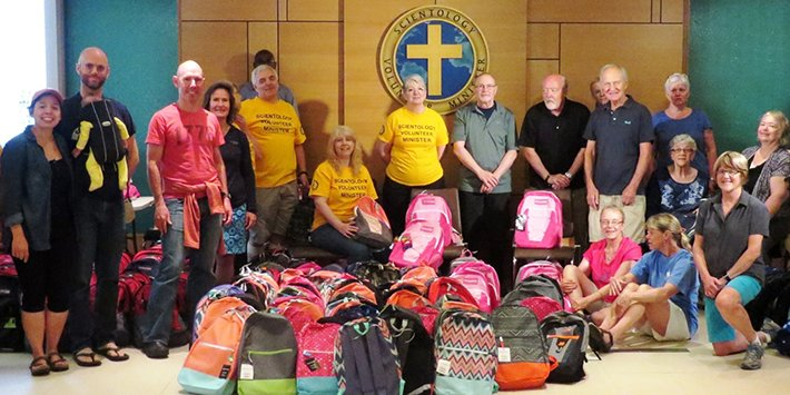 Interfaith Ministries of Greater Queen Anne at the Church of Scientology, where they packed 300 donated backpacks with school supplies for Mary's Place kids