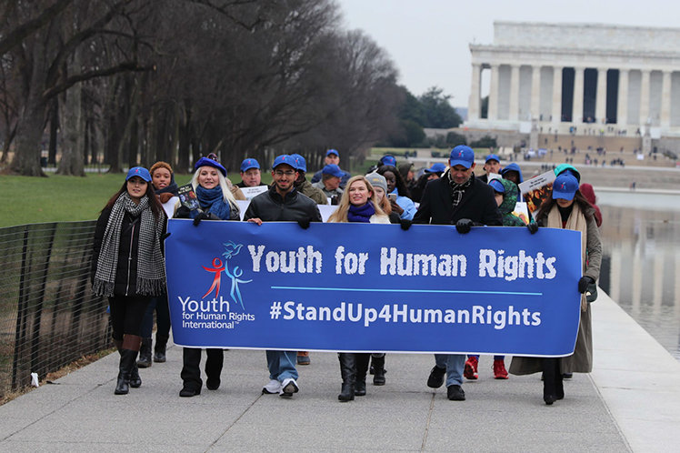 Youth for Human Rights march in Washington, D.C. began at Lincoln Memorial.