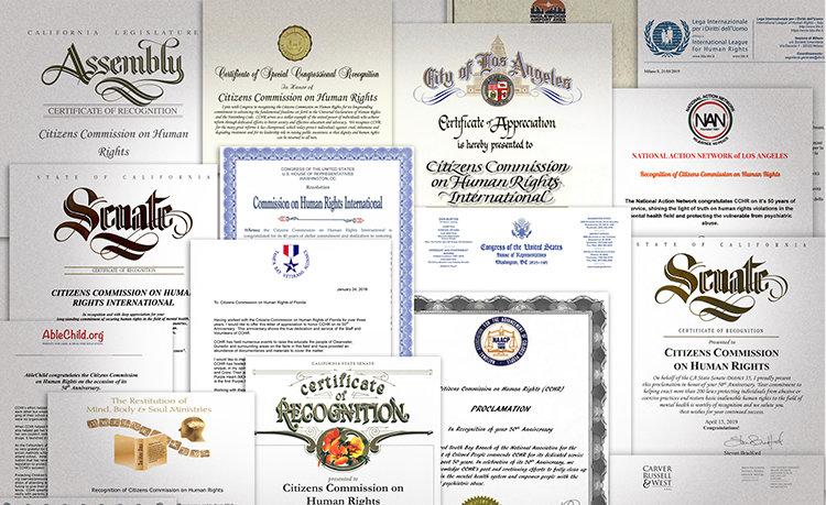 A CCHR számos partnerétől és barátjától kapott leveleket és elismeréseket a világ minden tájáról a jubileumi évfordulóján.