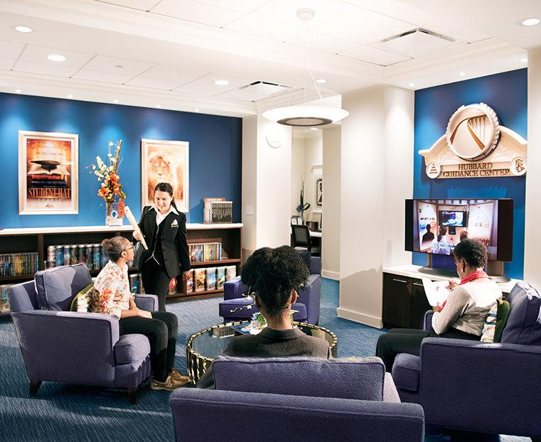 Scientology-kyrkan i Atlanta. Receptionsområdet