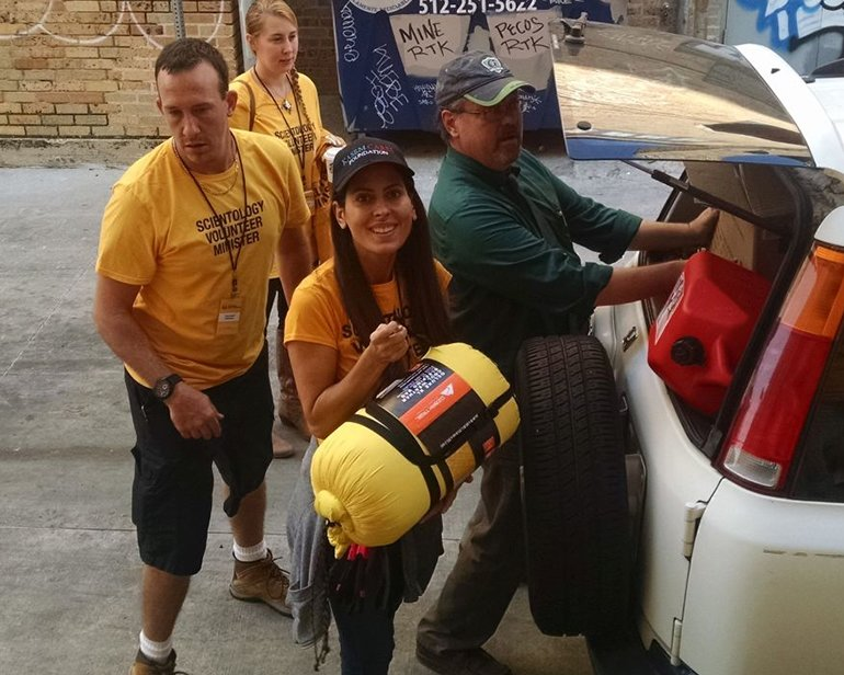Kerri Kasem flew in to Austin, Texas, and took off for Rockport to join the Scientology Volunteer Ministers Hurricane Harvey Disaster Response Team