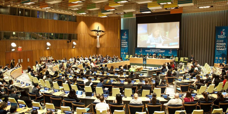 For 15 years, Youth for Human Rights has held an annual Human Rights Summit. Shown here is the 14th annual Summit at the United Nations in New York in August 2017.