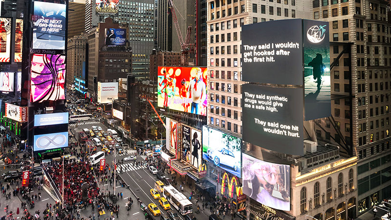 Truth About Drugs PSAs air in Times Square New York