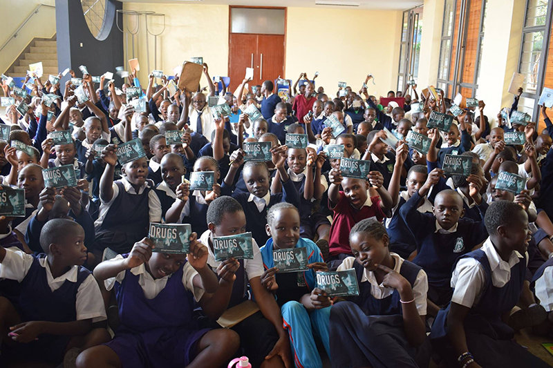 The Giselle Foundation reaches hundreds of children each week through drug education lectures using the materials of the Foundation for a Drug-Free World.