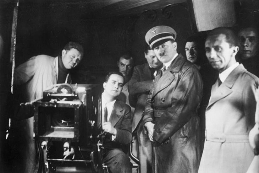 Hitler and Goebbels visiting a German film studio