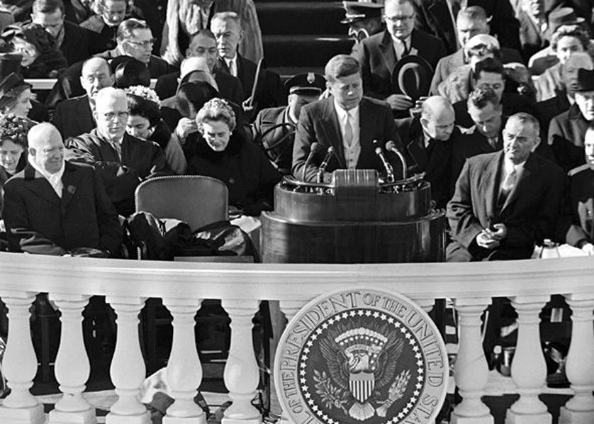 kennedys inaugural address Throughout john f kennedy's inaugural address, it is evident that the narrator is talking about the freedom and heights of the people in his speech he states that  we observe today not a victory of party, but a celebration of freedom- symbolizing an end, as well as a beginning signifying renewal.