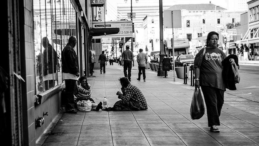 Homeless people on the street