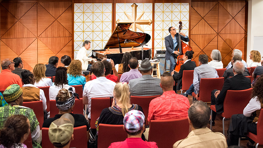 Jazz greats Chick Corea and Stanley Clarke perform in the new Center's Chapel