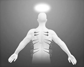 Stroke along the nerve channels which branch out from the spine, around to the front of the body.
