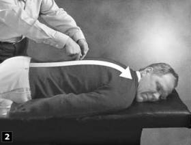 2. A continuación frota hacia arriba de la espina dorsal en la dirección opuesta.