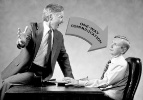 A communication which travels in one direction only never establishes a two-way communication cycle. In social situations, acceptance of the person won't occur without it.