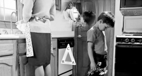 Preoccupied with housework, the mother ignores the child's communication, which becomes knocked out, followed soon after by less affinity and less reality.