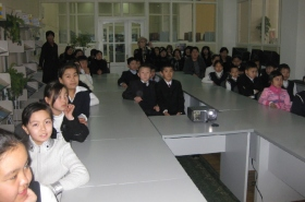 Children attend seminar at the largest library in Kyrgyzstan.