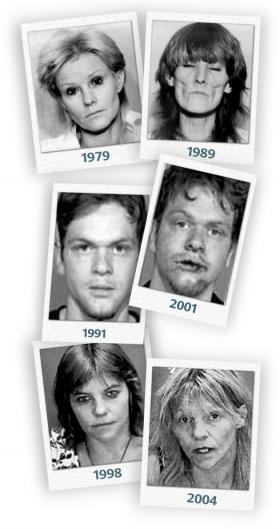 Man ser her de arrede og tidligt ældede ansigter hos dem, der misbruger stoffet. (Foto: venligst stillet til rådighed af Attorney General's Office, Taswell County, Illinois)