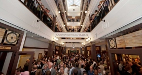 After the ribbon fell, thousands of Scientologists and guests toured through the Church's spectacular skylit four-story galleria, which rises through the center of the fully restored historic structure in the heart of the city's Old Town.