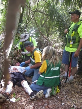 Volunteer Ministers and other Community Emergency Response Teams drill life saving skills in triage and search and rescue operations.