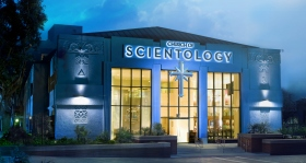 The Church of Scientology of Los Angeles, established in 1954 and the largest in North America, is a Hollywood landmark at Sunset Boulevard and L. Ron Hubbard Way.
