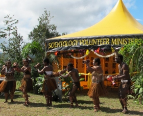 The Conchoo Dance Group performs a traditional dance, welcoming the Scientology Volunteer Ministers Goodwill Tour to Papua New Guinea.
