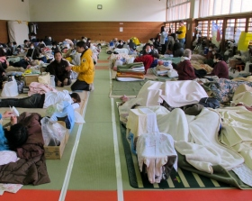 Volunteer Ministers helping survivors in a shelter in Onagawa, Japan. Many of the shelters are located in schools, hospitals and public gyms