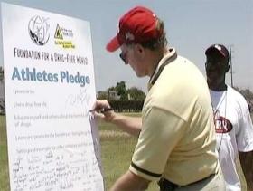 Athletes pledging a drug-free life