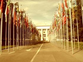 Het hoofdkwartier van de Verenigde Naties in Genève, Zwitserland