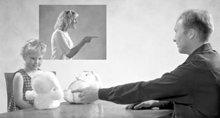 Um pai pode ajudar a dissipar a preocupação da criança, fazendo–a usar bonecos para demonstrar o que aconteceu.