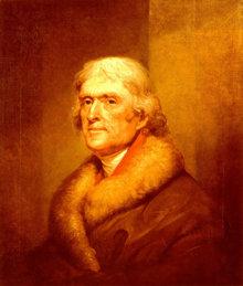 В1776году Томас Джефферсон принимал участие всоставлении Декларации независимостиСША.