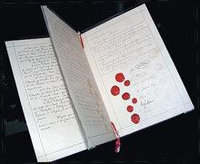 Das Originaldokument der ersten Genfer Konvention von 1864 sah die Versorgung von verwundeten Soldaten vor.
