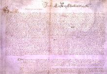 1628年英國議會向查理一世國王遞交公民自由的請願書。