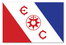 Explorers Clubs berömda flagga, som anförtroddes L. Ron Hubbard för hans Alaskaexpedition och efterföljande expeditioner.