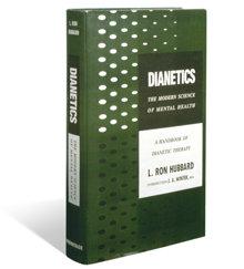 Första utgåvan av Dianetik: Hur tanken påverkar kroppen, publicerad den 9 maj 1950.