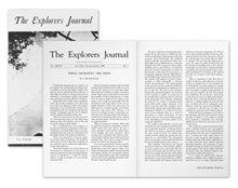 """A """"Terra Incognita: Azelme"""" című írás, az első kiadott cikk az emberi elméről. The Explorers Journal, 1950-es téli-tavaszi kiadás."""