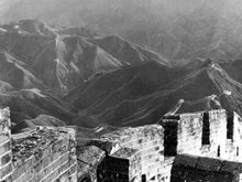 Kinesiska muren nära Nan-K'ou-passet 1928; foto L. Ron Hubbard.
