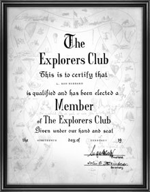 Certificat d'adhésion de L. Ron Hubbard au Club des Explorateurs