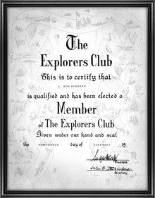 Het certificaat van L. Ron Hubbard's lidmaatschap van de Explorers Club.
