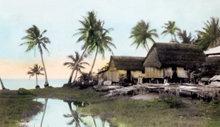 Cabanas de pescadores em San Antonio, Guam; fotografia tirada por L. Ron Hubbard, comprada pela National Geographic, 1930.