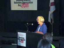 Alabama First Lady Diane Bentley addresses volunteers at the Alabama Disaster Volunteer Appreciation Day event.