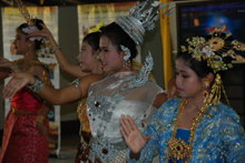Traditional Thai dancers perform at the opening ceremony for the Volunteer Ministers' tent in Sriracha, Thailand.