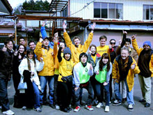 The Sendai team of Scientology Volunteer Ministers—the work is hard but morale is high.