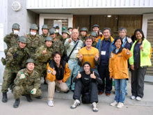 Scientology Volunteer Ministers work with military, public officials and disaster relief personnel in Sendai.