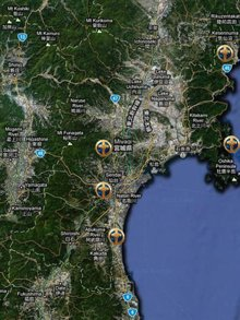 Volunteer Minister groups in Northern Japan, from the top: 1) Kesennuma, 2) Onagawa, 3) Miyagi (district), 4) Sendai and 5) Watari