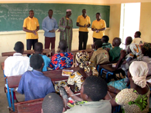 Patience Freeman (front, far right) at a Study Technology seminar provided to students at the school in Bougoula, a small town in the Koulikoro Region of southwestern Mali.