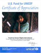 Elismerő oklevél az UNICEF-től.