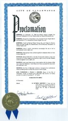 Proclamation remise par le maire de Clearwater