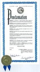 Elismerő oklevél Clearwater (USA) polgármesterétől.