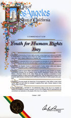 Dia da Youth for Human Rights da Cidade de Los Angeles