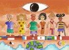 L'illustrazione vincente raffigura il fatto che i diritti umani uniscono popoli di tutte le culture.