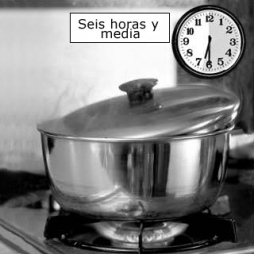 4. Boil slowly for 6½ hours with pot slightly vented so steam can escape.